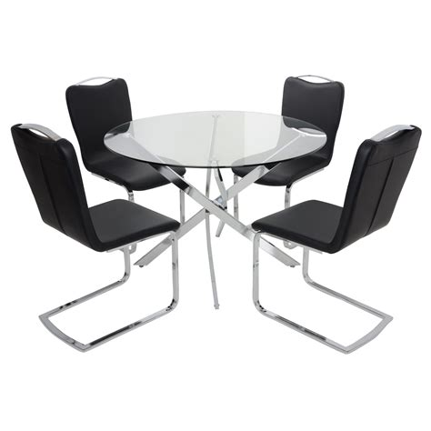 Glass Dining Table And Leather Chairs Modern Dining Set Table With Clear Glass Top 4 Black Faux Leather Chairs Ebay