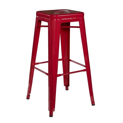 Square Metal Bar Stools by Square 30 Quot Metal Bar Stool In Set Of 2 K03242red