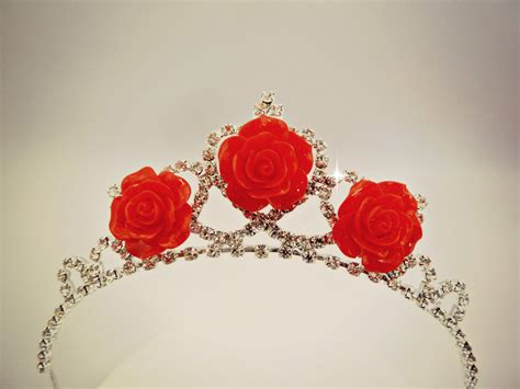 rose tiara princess belle tiara the beauty and the beast belle red rose