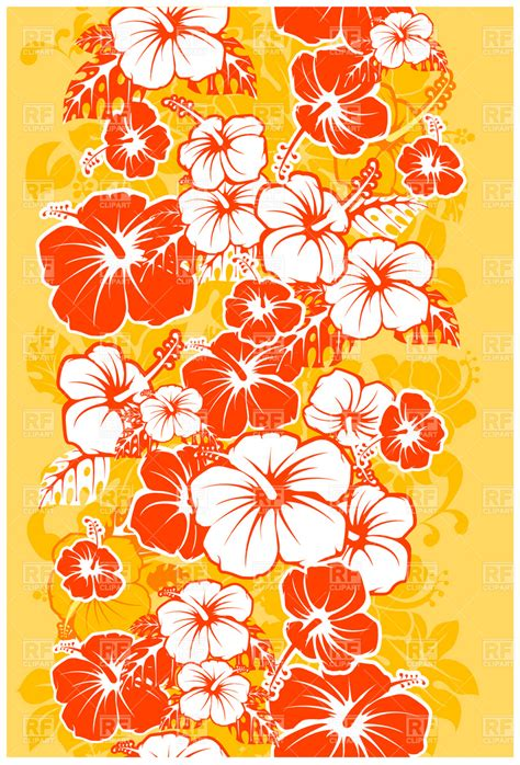 hawaii floral pattern vector hawaiian floral seamless background with hibiscus royalty
