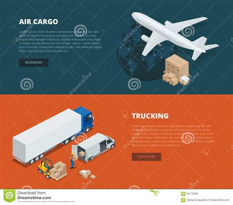 logistic concept flat banners of air cargo trucking on time delivery delivery and logistic
