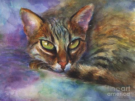 cat painting bengal cat watercolor painting print by svetlana novikova