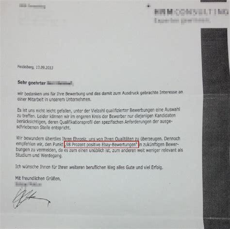 Bewerbung Absage Dann Zusage Ebay Bewertungen F 252 R Eine Bewerbung Irrelevant Das