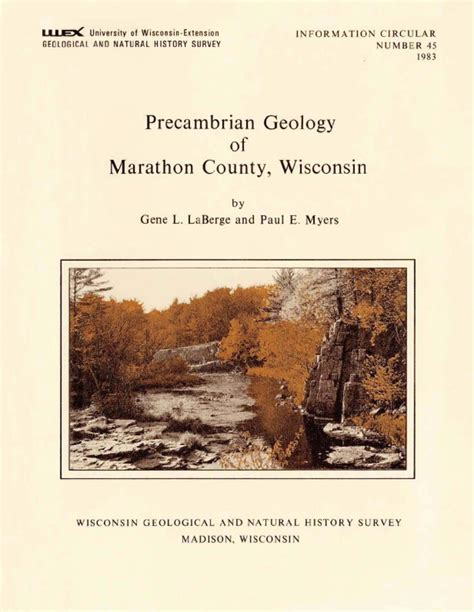 Marathon County Records Wisconsin Geological History Survey 187 Precambrian Geology Of Marathon