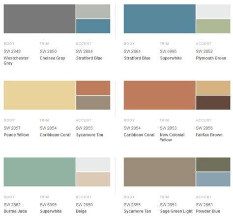 sherwin williams color schemes 1950s exterior paint colors