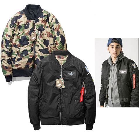 Jaket Bomber Jaket Bape Stussy Putih high quality cool camouflage bape winter baseball ma1 flight bomber jacket clothing