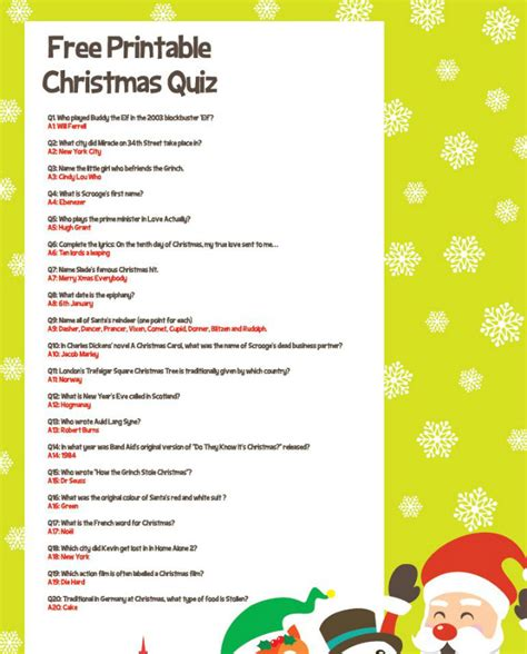 printable easy christmas quiz questions and answers free printable christmas quiz party delights blog