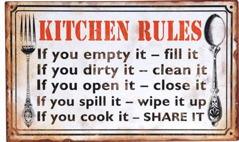 Word Signs Home Decor Decoupage Metal Quot Kitchen Rules Quot Wall Sign Rustic