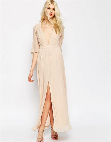 Sleeve Pleated Dress asos pleated flutter sleeve maxi dress in pink lyst