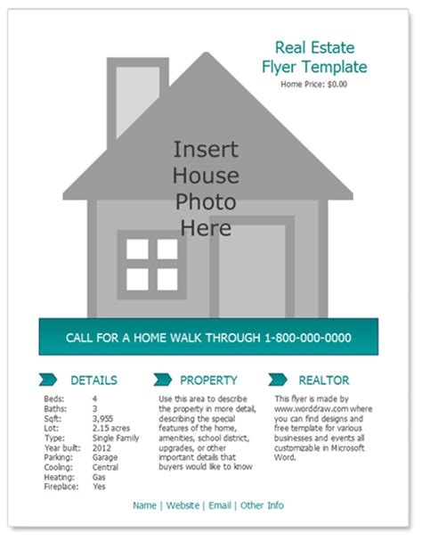 microsoft word real estate flyer template word real estate flyer