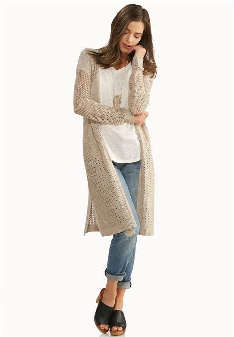 pointelle knit cardigan pointelle knit duster cardigan cardigans shrugs cato