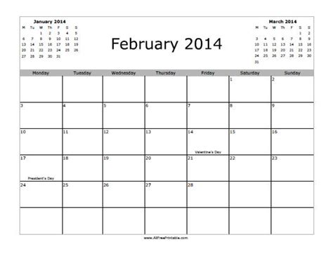 2014 calendar template free february 2014 calendar free printable allfreeprintable