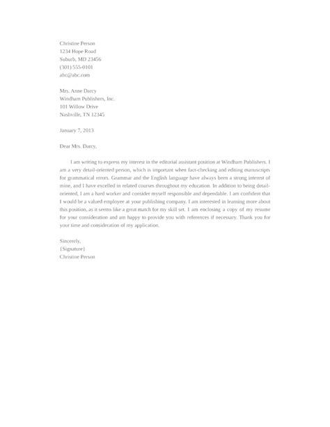 editorial assistant cover letter basic editorial assistant cover letter sles and templates
