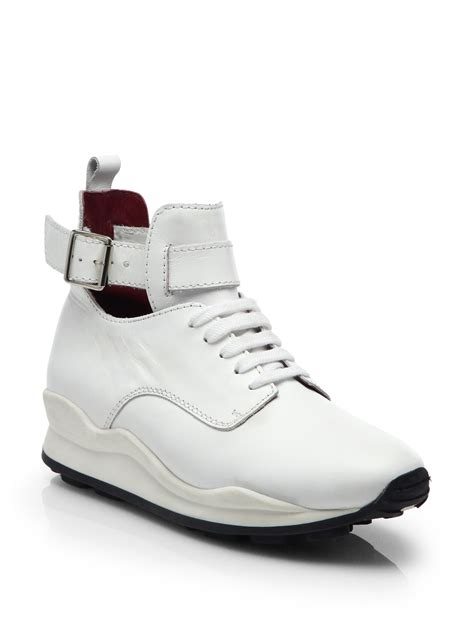opening ceremony oc leather high top sneakers in white lyst