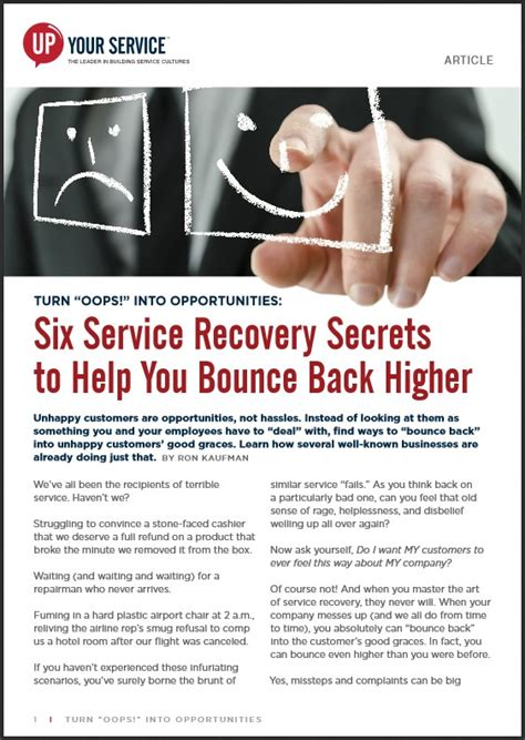 9 Ways To Bounce Back From A Up by Six Service Recovery Secrets To Help You Bounce Back Higher