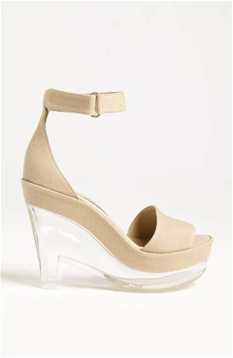 stella mccartney lucite wedge sandal in beige pebble lyst