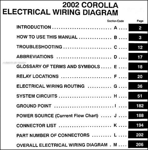 2002 toyota corolla wiring diagram manual original