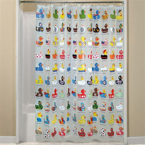 duck shower curtain essential home shower curtain aqua duck vinyl peva