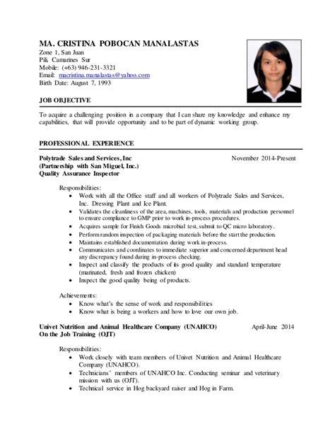 simple resume sle for ojt resume