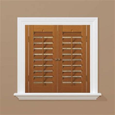 homebasics plantation faux wood oak interior shutter price varies by size qspb3136 the home