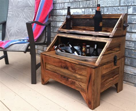Handmade Coolers - washtub cooler horizontal oak barn wood home and