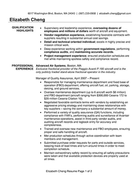 Resume Quality Manager Qa Analyst Resume Sle Great Resumes