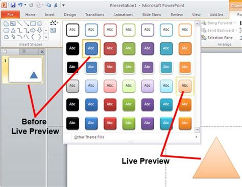 define themes in powerpoint 2010 live preview in powerpoint 2010 for windows