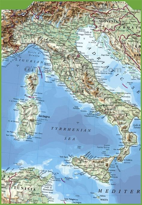 map of italy large physical map of italy