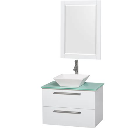 Glossy Pyra wyndham collection wcr410030sgwggd2wm24 amare 30 inch glossy white green glass countertop pyra