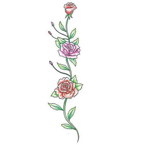 chain of roses tattoo flowers and vines designs colorful vine