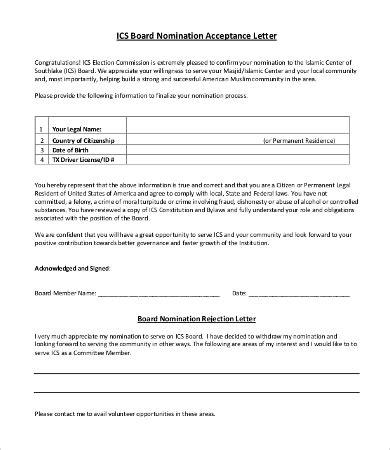 Nomination Acceptance Letter Sle board nomination acceptance letter docoments ojazlink