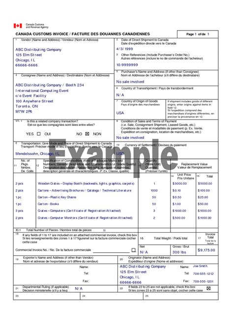 customs commercial invoice template canada customs invoice canada customs invoice template vrices nunca ms 1242 x 1754 invoice