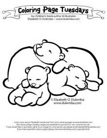 dulemba coloring page tuesday sleeping bears