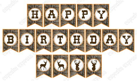 printable camo birthday banner instant download camo boy hunting birthday party printable