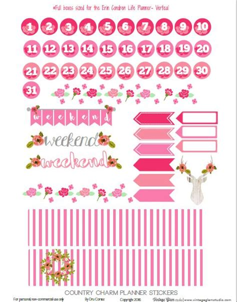 printable country stickers free printable country charm planner stickers page 2