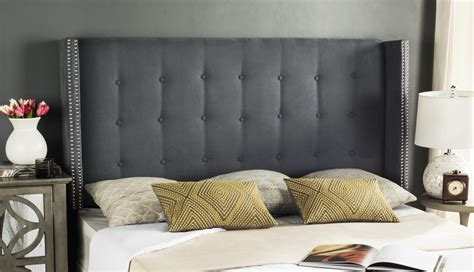 winged tufted headboard keegan grey velvet tufted winged headboard silver nail