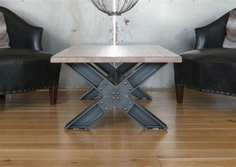 industrial metal x leg coffee table from tannahill