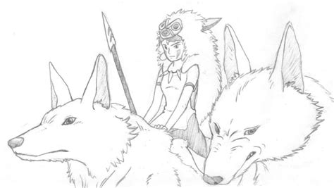 Drawing Princess Mononoke Wolves Sketch Coloring Page Princess Mononoke Coloring Pages Free Coloring Sheets
