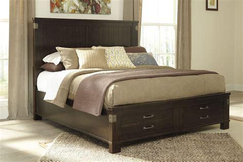 ashley platform bed haddigan dark brown cal king platform storage bed from
