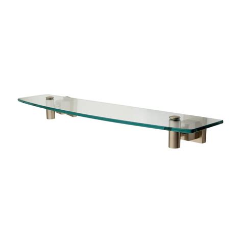 Lowes Glass Shelf by Shop Elements Of Design Claremont Satin Nickel And Glass