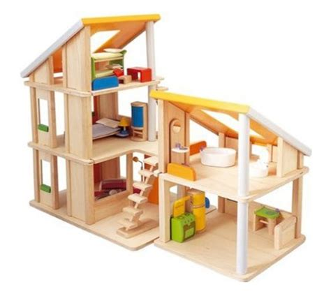 plan toy doll house plan toys chalet dollhouse with furniture modern baby toddler products