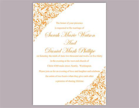 elegant wedding invitation printable diy wedding invitation template editable word file instant