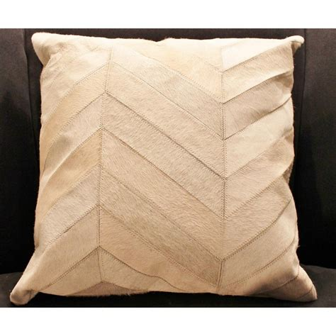madisons  cream herringbone pattern hide pillow
