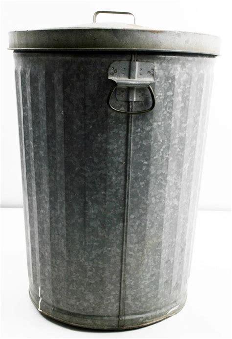 vtg trash  galvanized  lid metal garbage waste bin