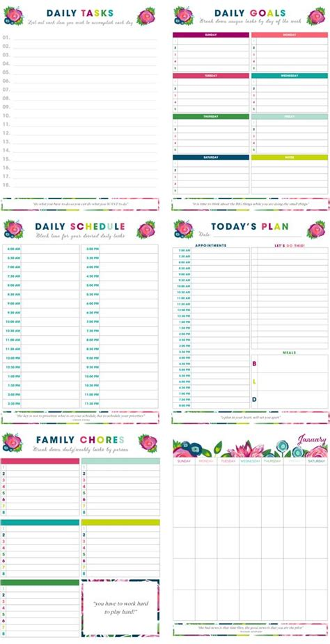 printable daily planners time management 7 sheets printable time management sheets planner template free