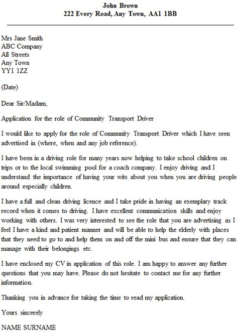 Transportation Executive Cover Letter by Community Transport Driver Cover Letter Exle Icover Org Uk