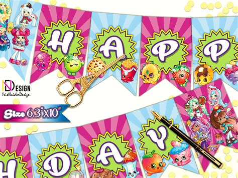 Bunting Flag Shopkins Bendera Happy Birthday Shopkins Custom Nama shopkins banners shopkins birthday banner shopkins flags