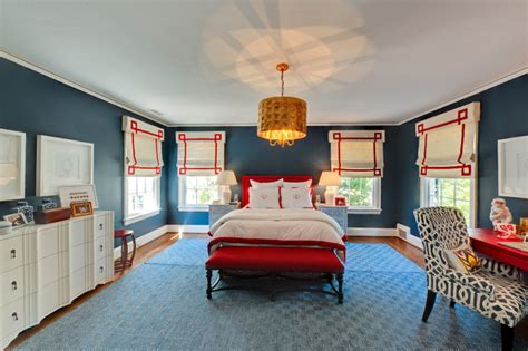 blue and red bedroom eclectic bedroom remodeling ideas with blue interior