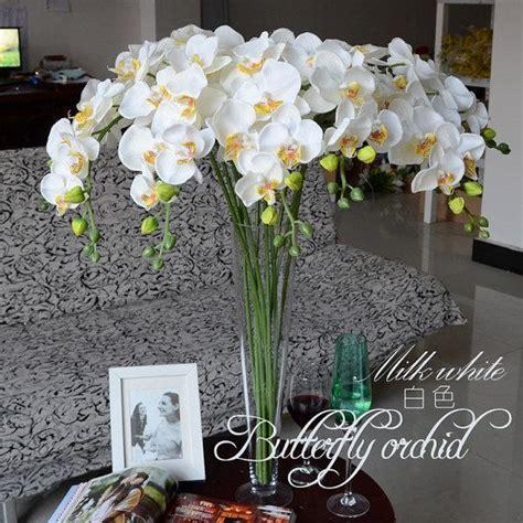 artificial flowers for centerpieces 5pcs white orchids artificial flowers for wedding table
