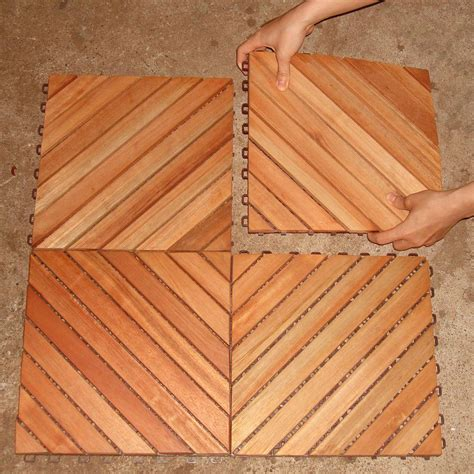 Deck Tiles by Vifah Roch 12 Diagonal Slat Style Hardwood Deck Tile A3458